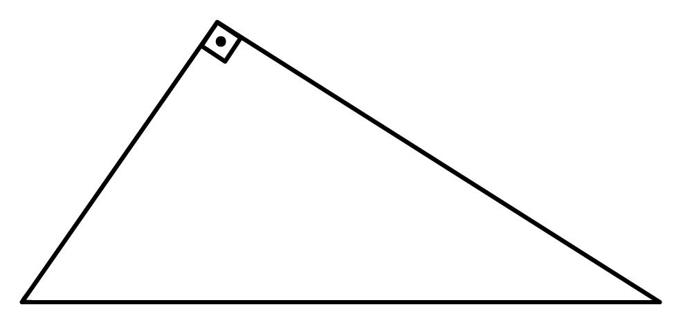 triângulo retângulo com hipotenusa como base