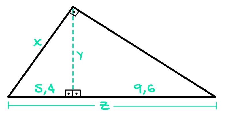 triângulo retângulo onde são desconhecidas as medidas x y e z
