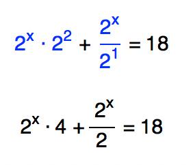2ˆx . 2ˆ2 + 2ˆx/2ˆ1 = 18