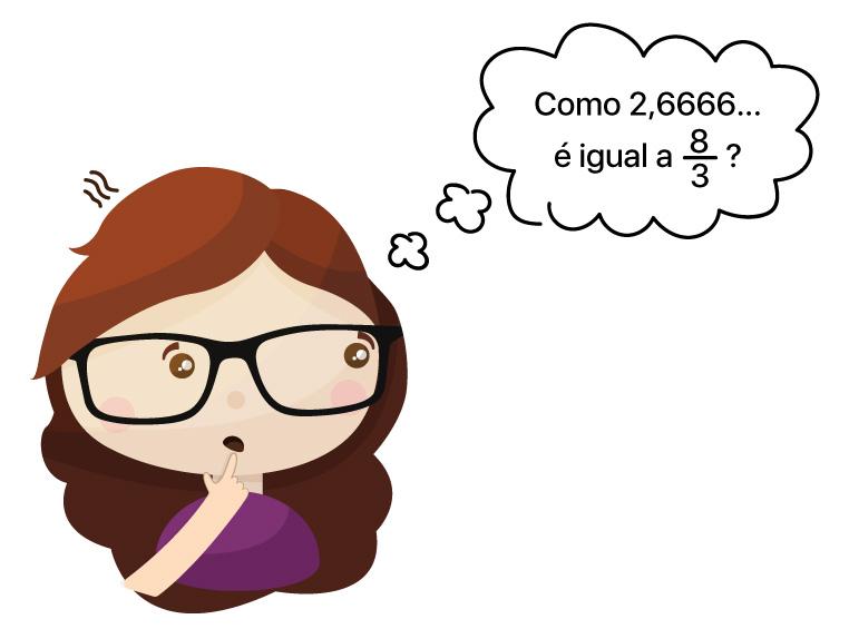 Aluna está pensando: Como 2,6666... é igual a 8/3?