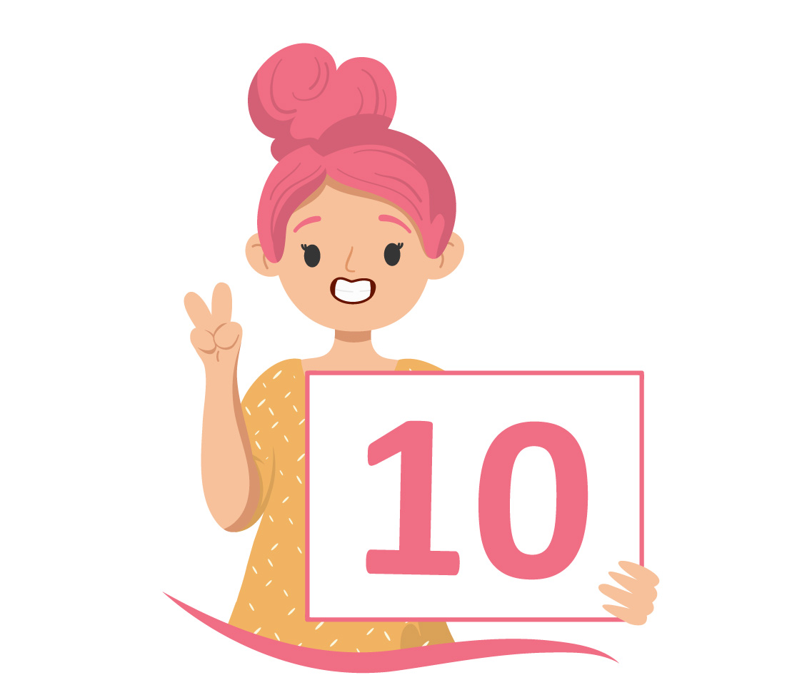aluna de coque cor de rosa mostra o número 10