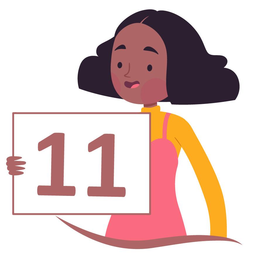 aluna de cabelo preto mostra o número 11