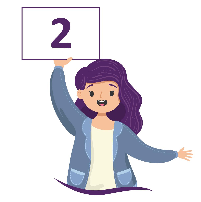 aluna de cabelo roxo mostra o número 2 em uma placa