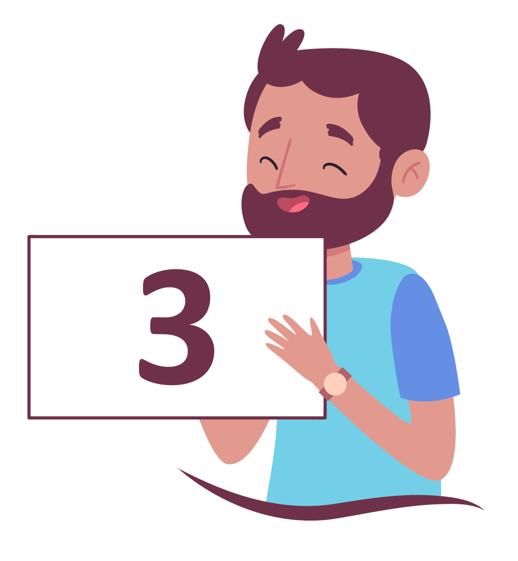 aluno com barba mostra o número 3