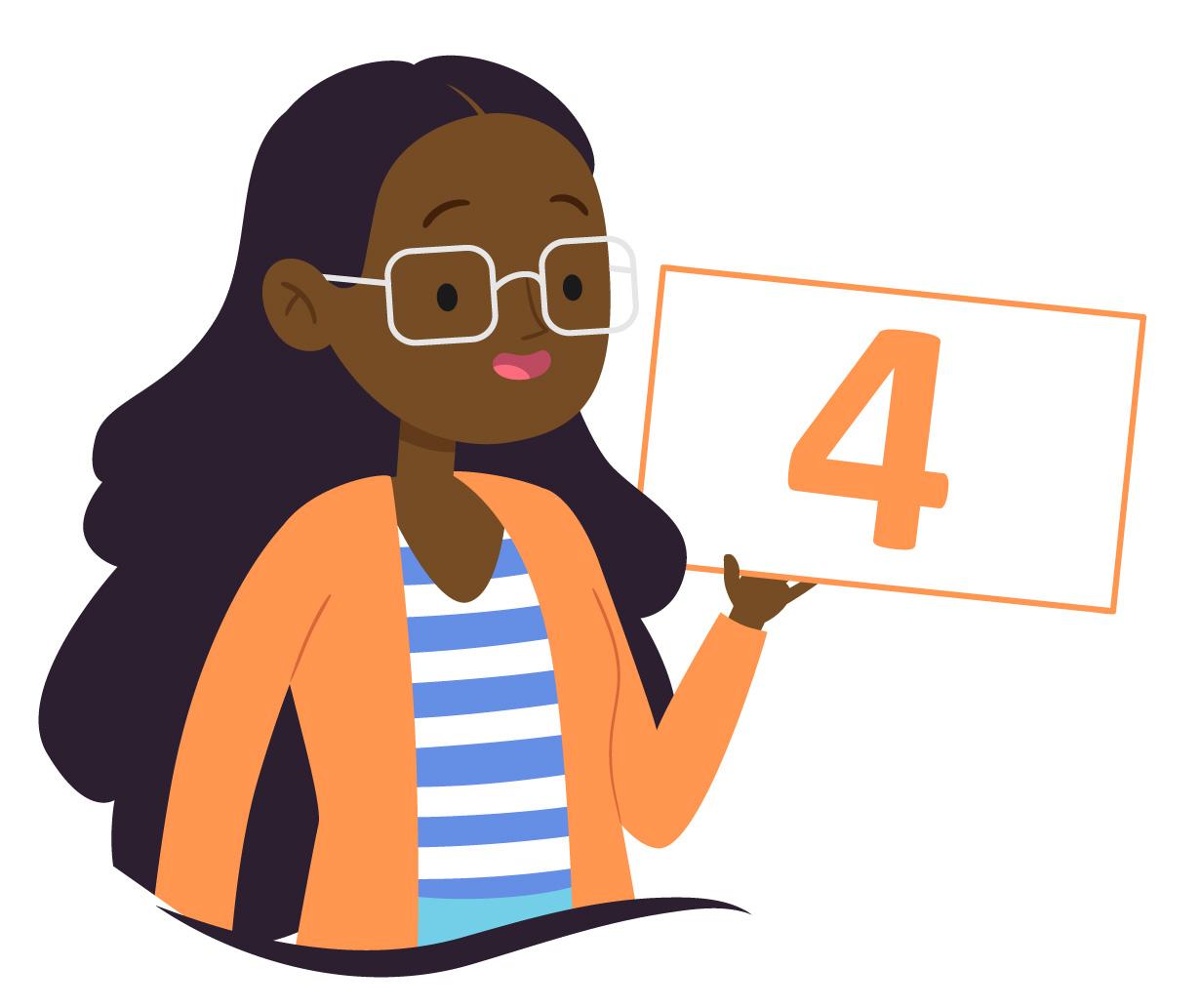 aluna de óculos mostra o número 4
