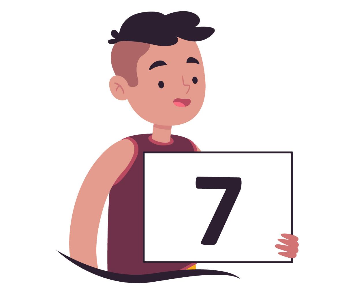 aluno de cabelo raspado mostra o número 7