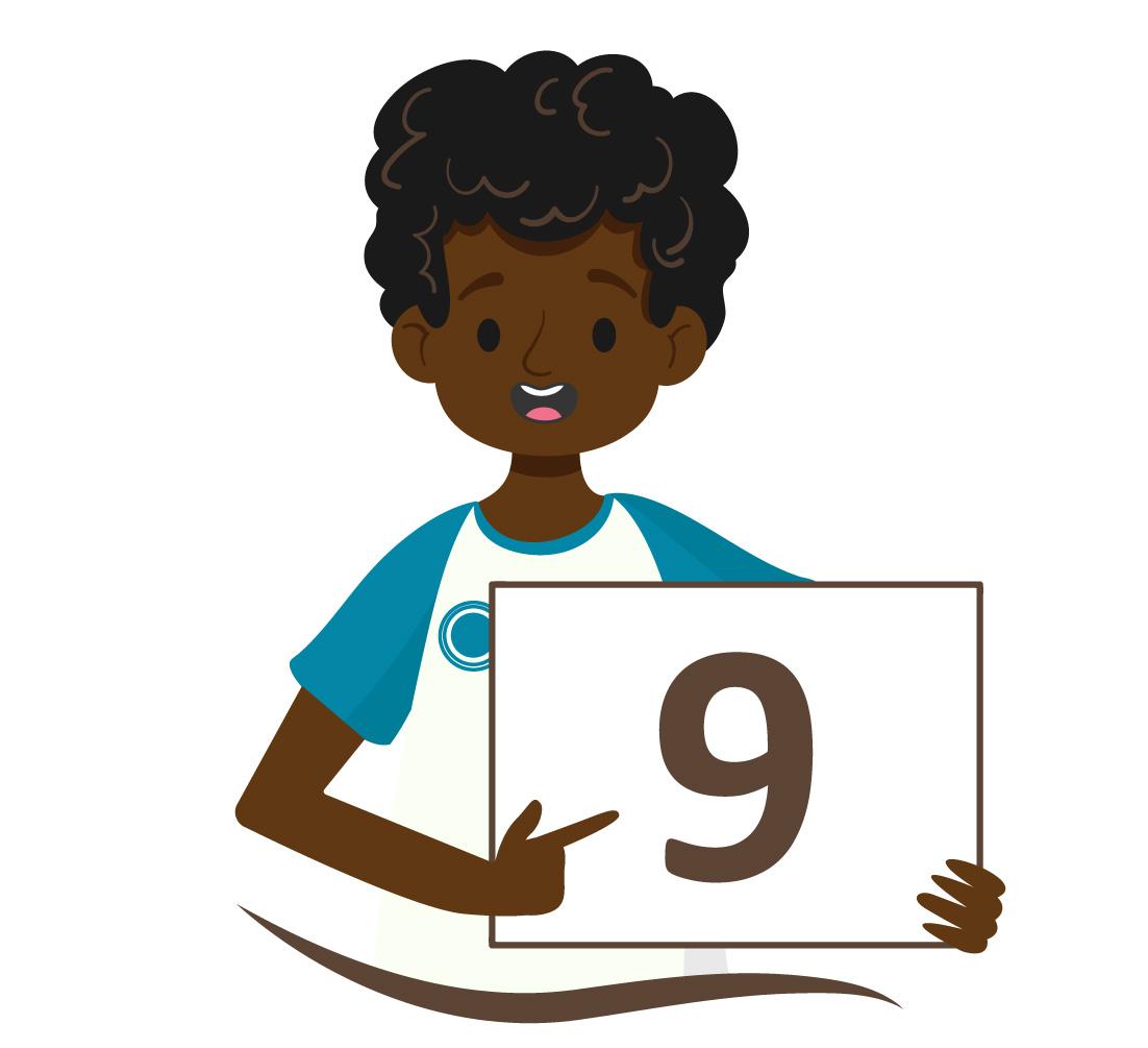 aluno negro mostra o número 9