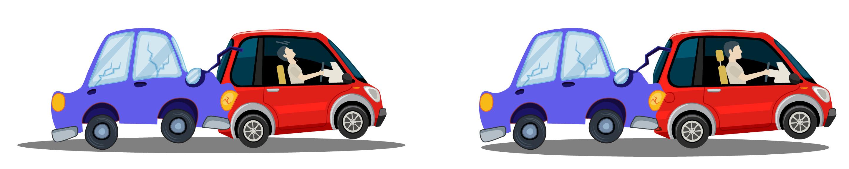 Dois cenários de uma batida traseira de carro mostrando o papel do encosto de cabeça para proteger a coluna cervical.