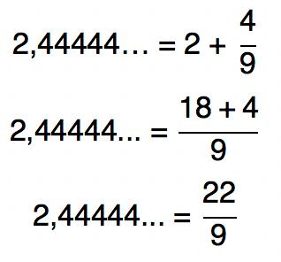 2,44444... = 2 + 4/9 = 22/9