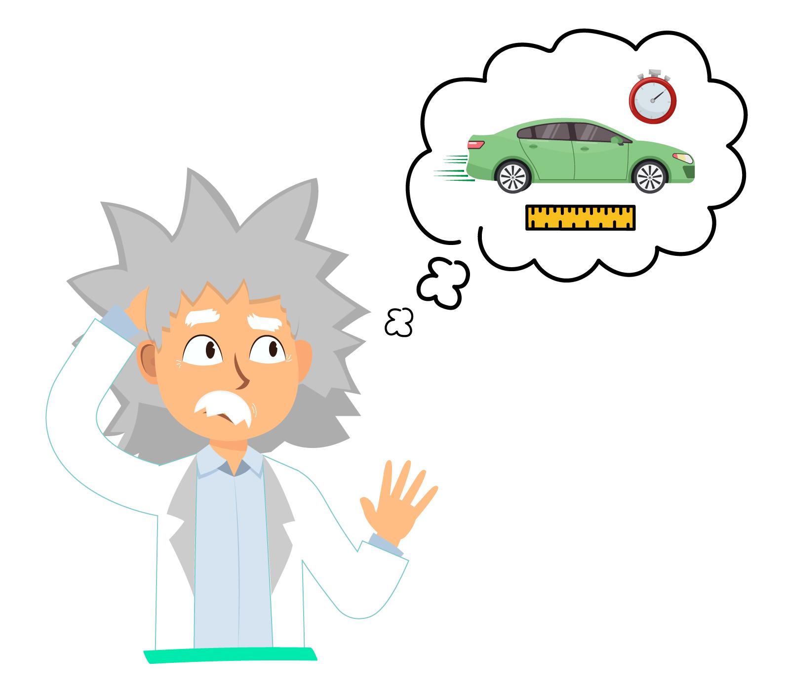 cientista pensando em como calcular a velocidade média usando espaço e tempo