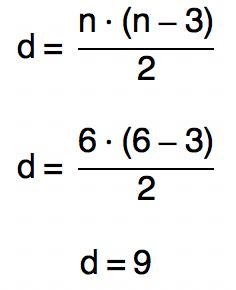 substituindo n por 6 na fórmula d = n.(n-3)/2 temos que d é igual a 9