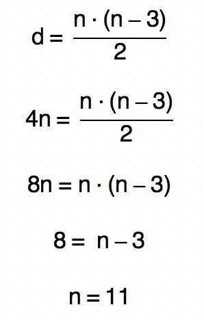 substituindo d da fórmula d = n.(n-3)/2 por 4n temos que n é igual a 11