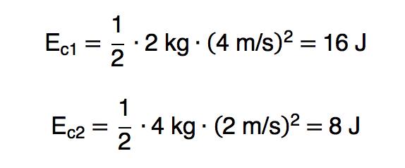 Cálculos da energia cinética de duas bolas diferentes com velocidades diferentes.