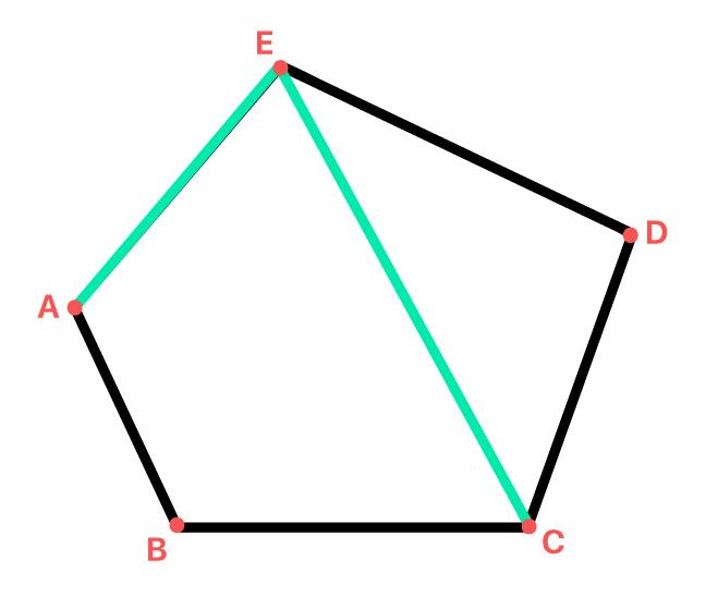 polígono com um lado e uma diagonal em destaque
