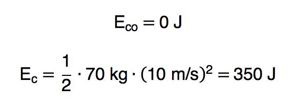 Cálculo da energia cinética inicial e final em um exemplo.