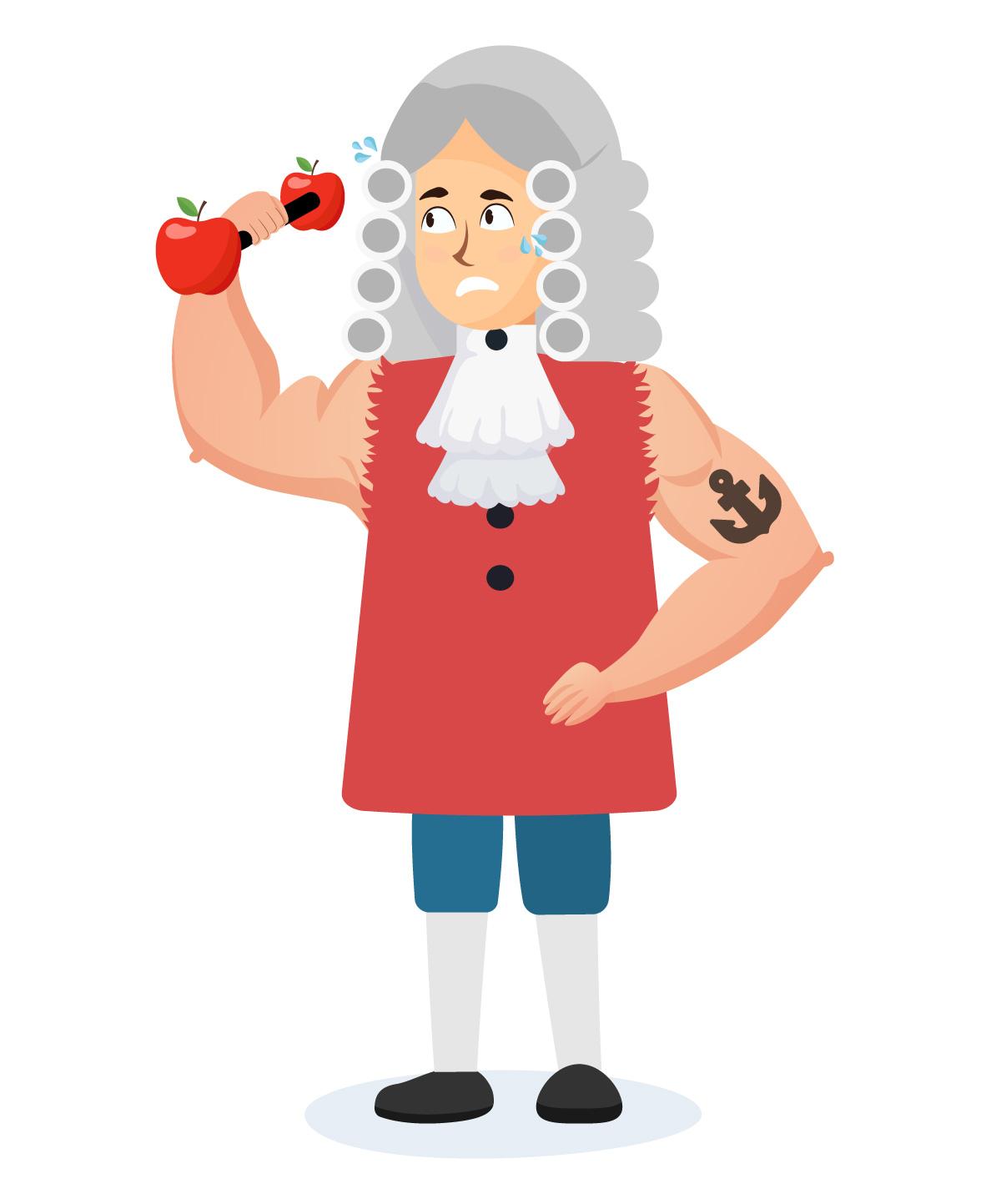 Newton fortão malhando com haltere de maçãs.