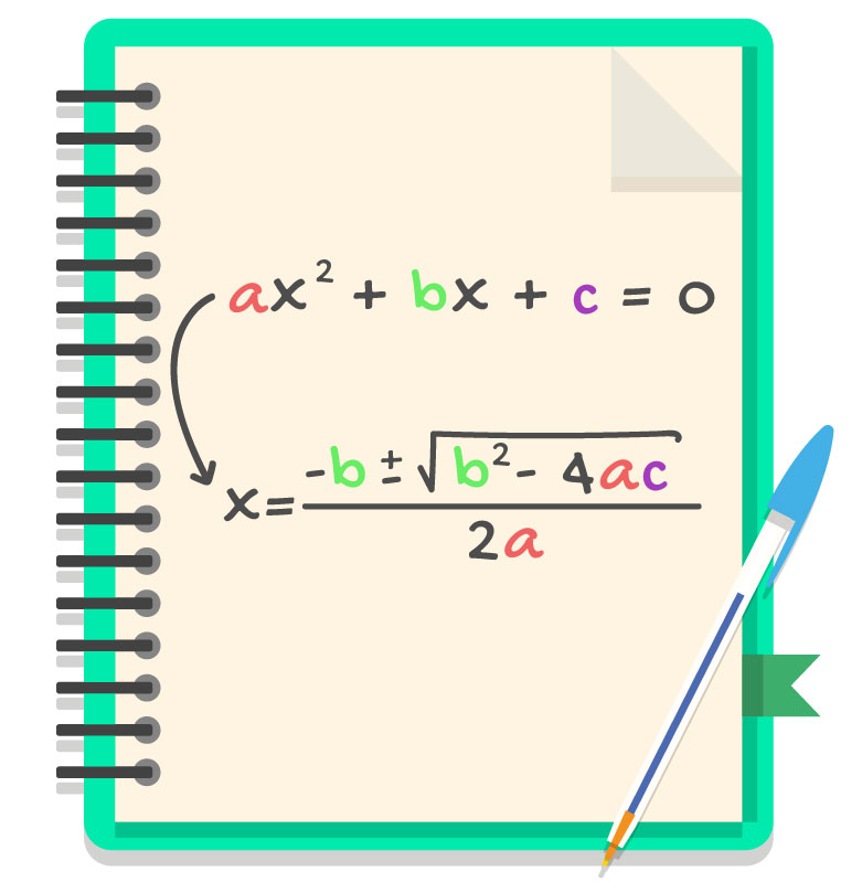 coeficientes a b e c estão em destaque na equação do 2 grau e na fórmula de Bhaskara