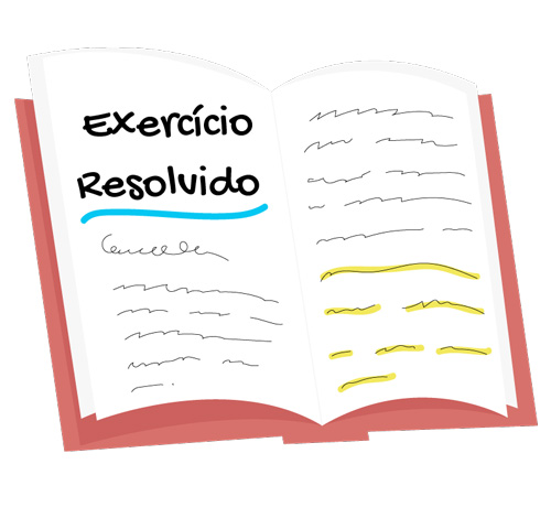 livro aberto onde está escrito exercícios resolvidos