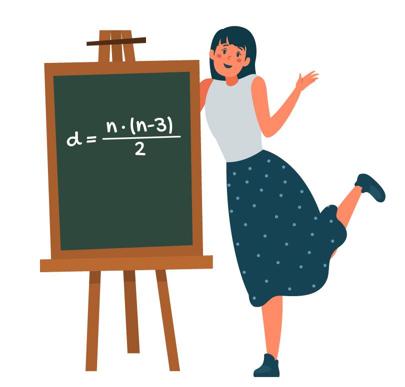 fórmula d = n.(n-3)/2 em um quadro