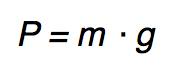 Fórmula da força peso.