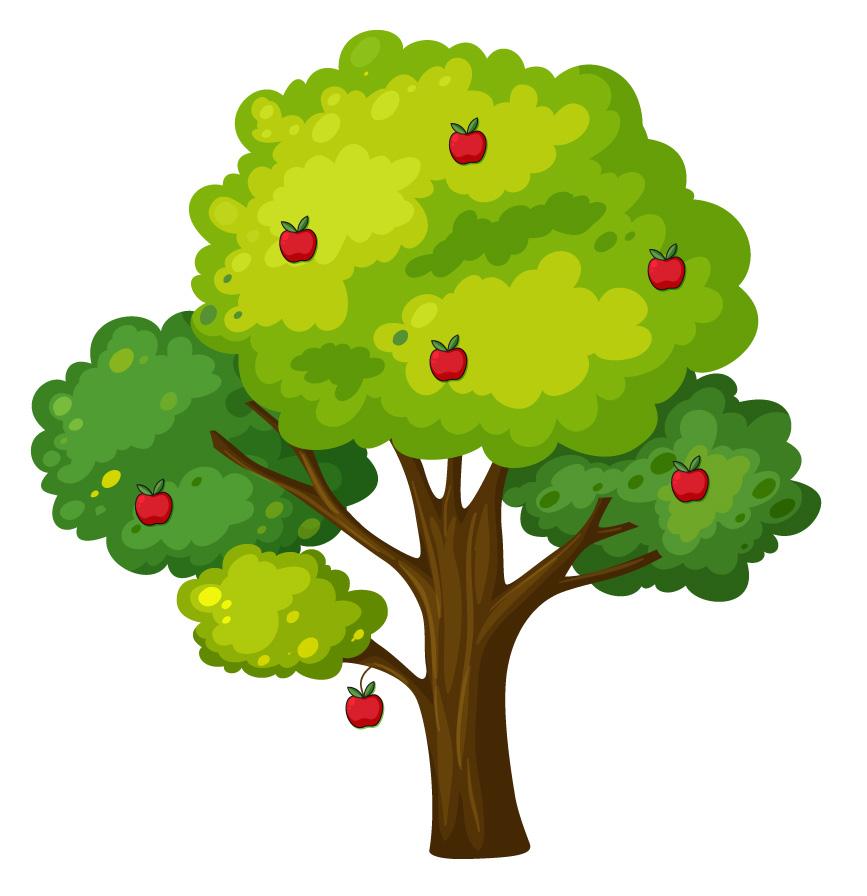 Desenho de árvore com uma maçã.