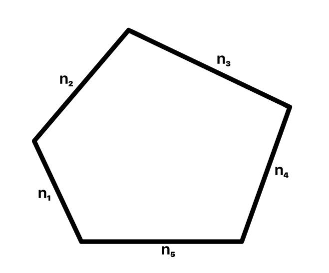 polígono com os lados em destaque