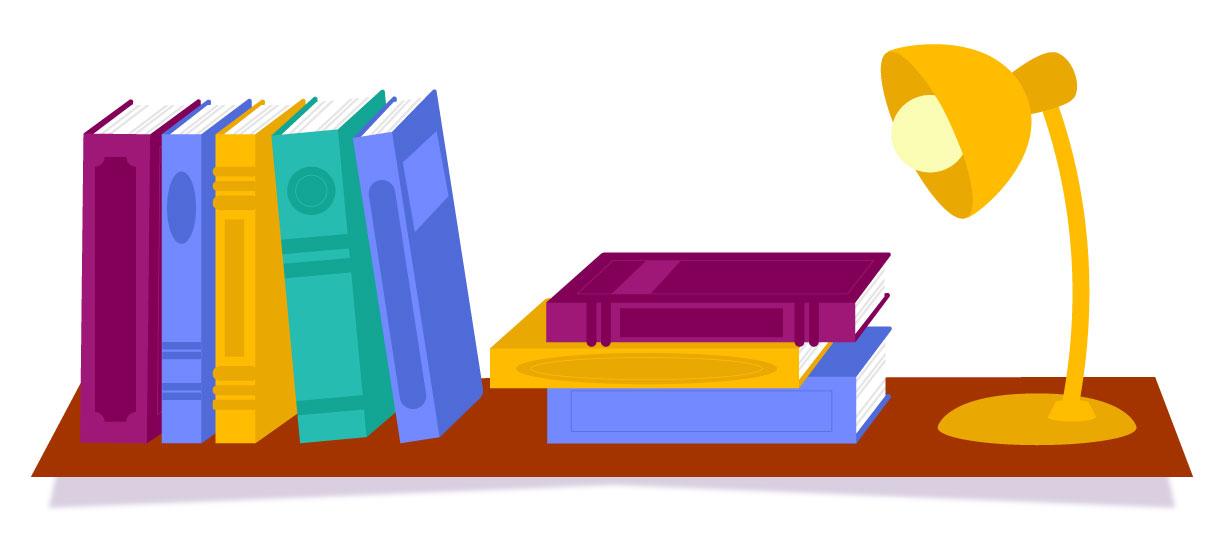 livros dispostos em uma superfície