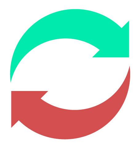 duas flechas indicando troca ou substituição
