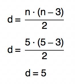 substituindo n por 5 na fórmula d = n.(n-3)/2 temos que d é igual a 5 também