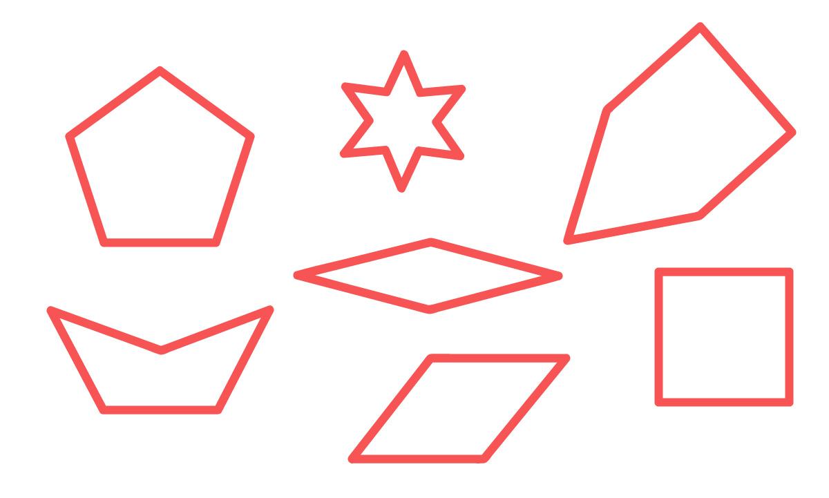 polígonos côncavos e convexos espalhados