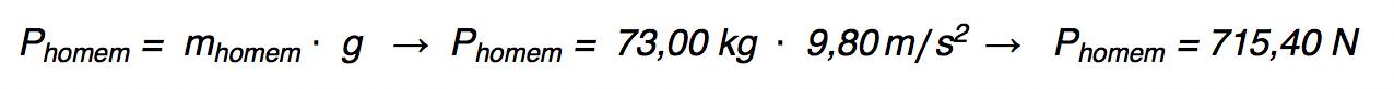 Calculando o peso de um homem.