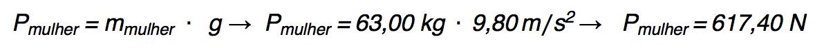 Calculando o peso de uma mulher.