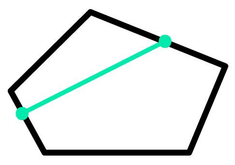 polígono convexo com segmento de reta traçado sobre ele