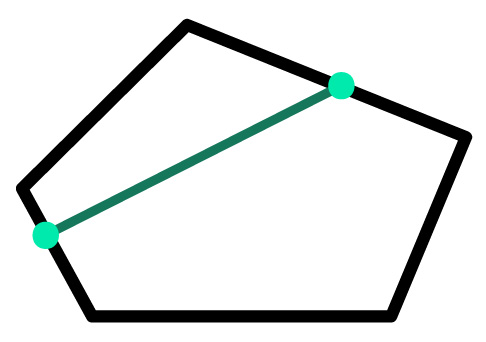 segmento interno ao polígono convexo em destaque