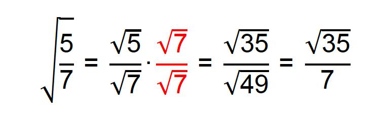 Racionalização do denominador da fração √(5/7)