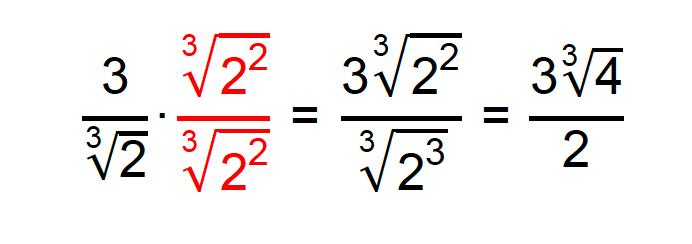Racionalização do denominador da fração 3/∛2