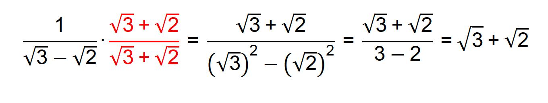 Racionalização do denominador da fração 1/(√3-√2)