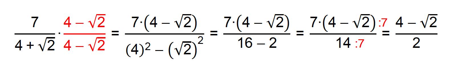 Racionalização do denominador da fração 7/(4+√2)