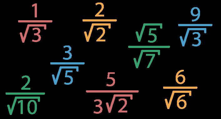 8 frações com denominadores com radicais de índice 2