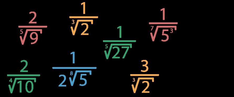 7 frações com denominadores com radicais de índice maior do que 2