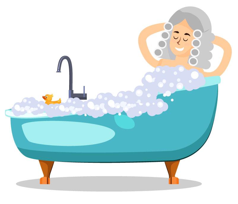 Newton em uma banheira relaxando após trabalhar.