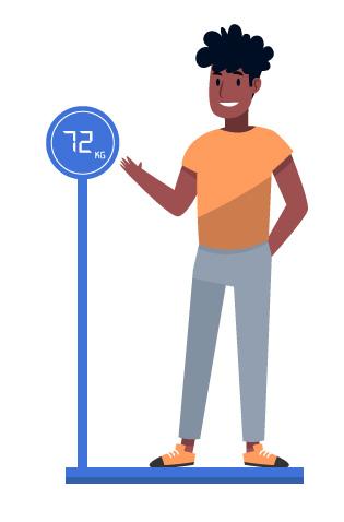 Pessoa em uma balança medindo a massa.