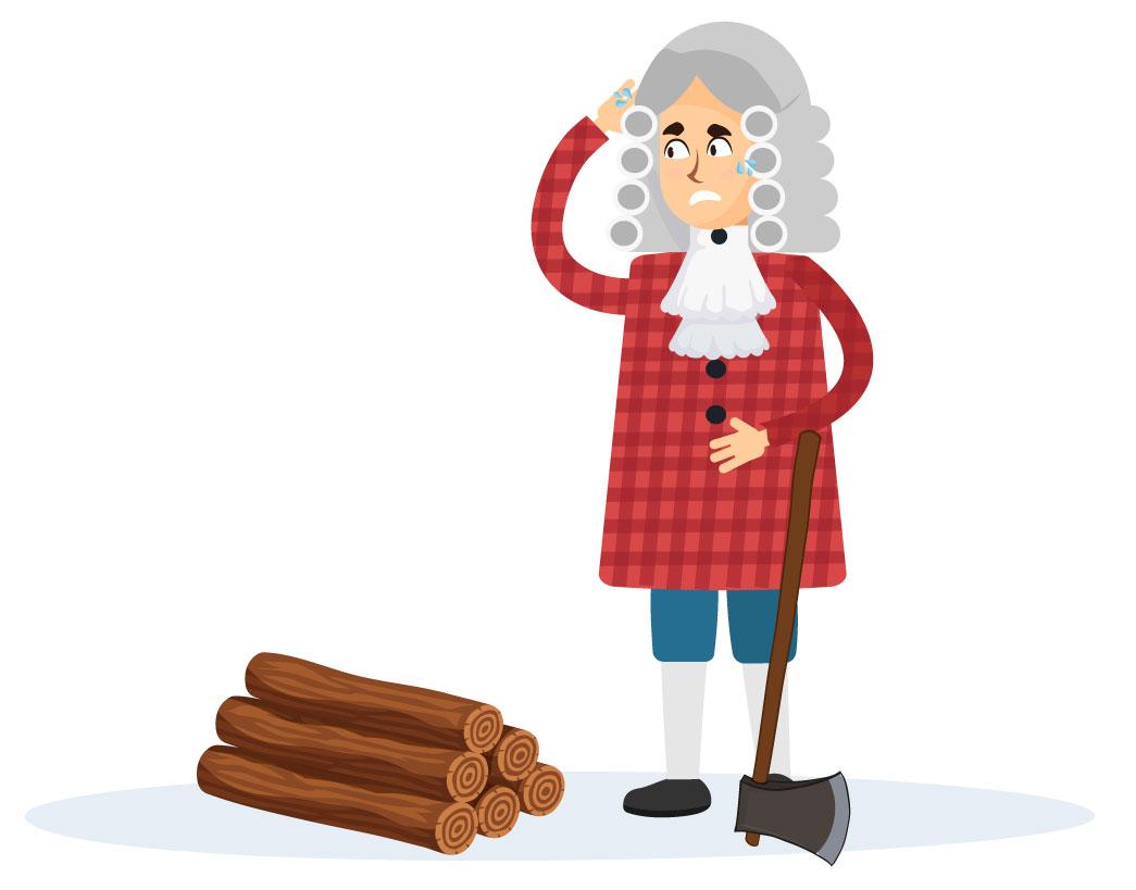 Newton apoiado em um machado, cansado de cortar lenha.