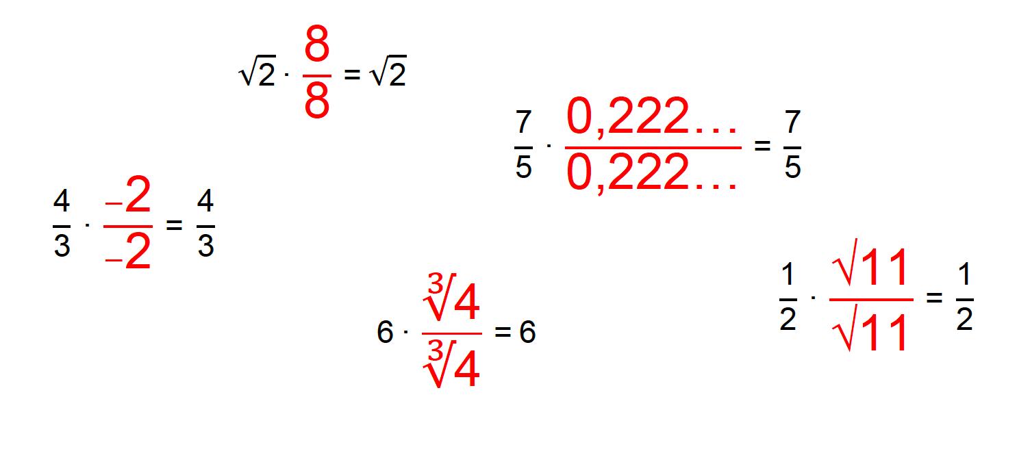 vários números reais sendo multiplicados por uma fração de igual numerador e denominador