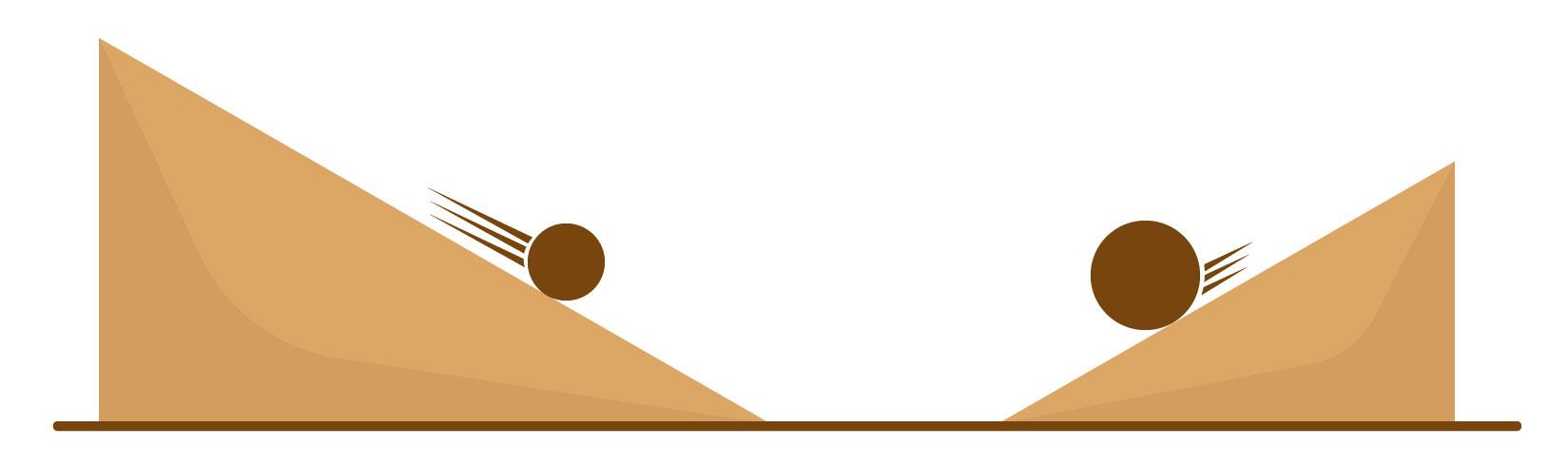 Comparando a energia cinética de duas bolas diferentes com velocidades diferentes.