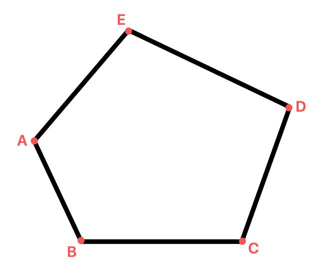 polígono com os vértices A B C D e E em destaque