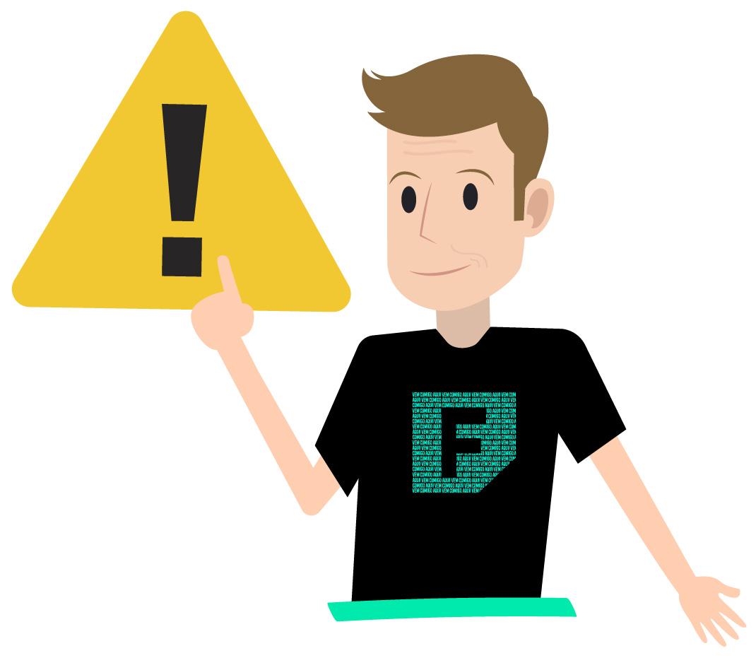 Ferretto aponta para o símbolo de atenção porque vai falar sobre um detalhe importante do módulo de um número real