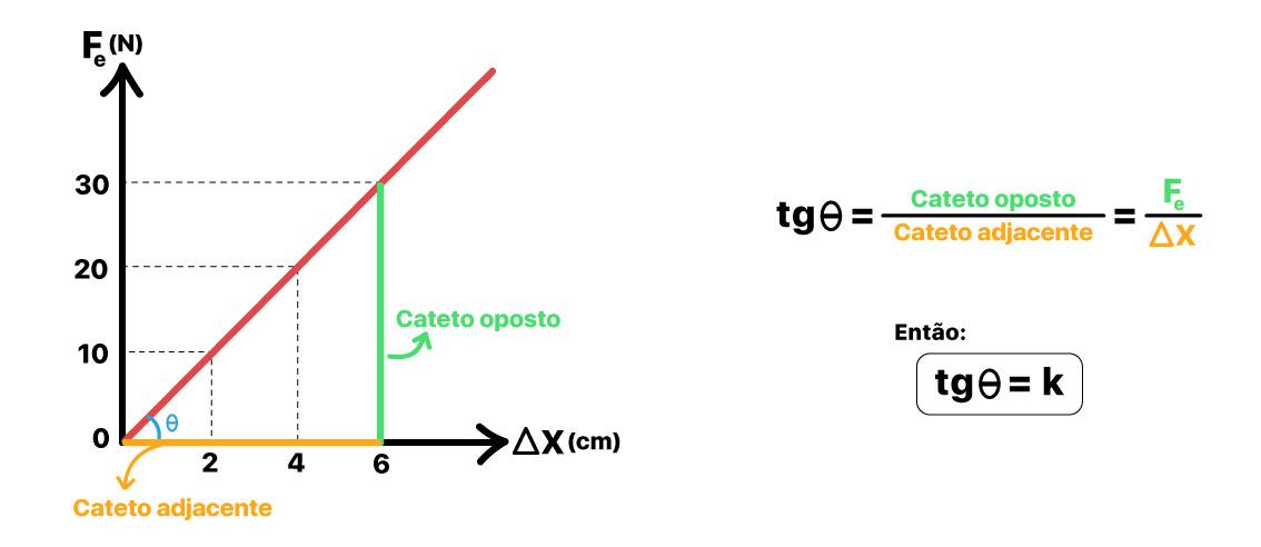 A constante elástica é igual à tangente do gráfico