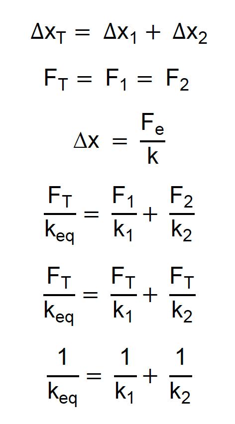 Dedução da constante elástica equivalente para duas molas em série