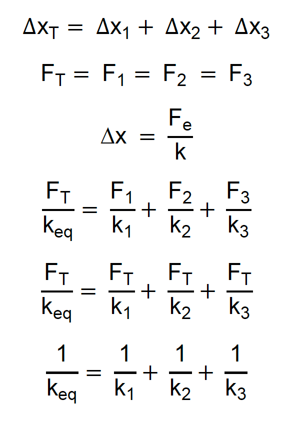 Dedução da constante elástica equivalente para três molas em série